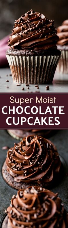 Here are the best homemade chocolate cupcakes! Moist, rich, soft, and so easy to make from scratch with chocolate buttercream frosting! Recipe on sallysbakingaddiction.com(Moist Chocolate Muffins)