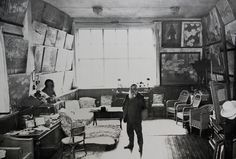 Claude Monet in his atelier in Giverny, 1920