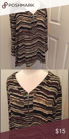 Lovely Fall Top NWOT 100 % Polyester. Partial zipper  on the front. Tops Blouses