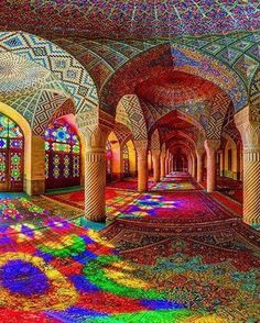 The colors of Nasir al-Mulk Mosque in Shiraz, Iran