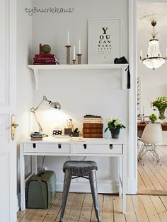 // home office, clean modern office, office inspiration, minimalistic, minimalism Workspace Inspiration, Interior Inspiration, Room Inspiration, Office Nook, Home Office Space, Desk Space, Corner Office, Office Inspo, Office Table