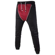 Double Zipper Color Splicing Slimming Narrow Feet Lace-Up Men's Jogger Pants