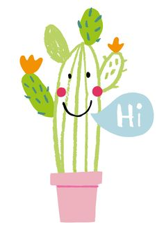 Illustration - Anja Boretzki, hi, cati, cactus, plant, fun, drawing, collage, cute