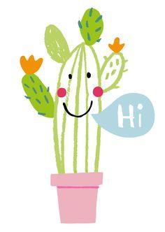 Illustration - Anja Boretzki, hi, cati, cactus, plant, fun, drawing, collage, cute