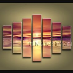 Enchant Contemporary Wall Art Hand-Painted Art Paintings For Bath Room Sunset. This 7 panels canvas wall art is hand painted by E.Cheung, instock - $198. To see more, visit OilPaintingShops.com