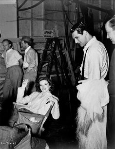"tracylord: "" Katharine Hepburn and Cary Grant on set of Bringing Up Baby (1938) """