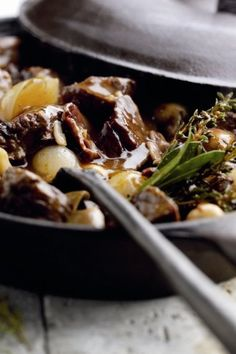Very easy to make and tasty! #lamb #recipe #casserole #meat #mushrooms #bacon #shallot #thyme #dinner