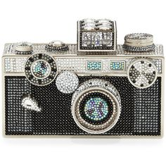 Judith Leiber Couture Camera Clutch Bag featuring polyvore, fashion, bags, handbags, clutches, clutches/wallets, silver cosmo jet, clasp purse, black handbags, chain strap handbag, hard clutch and chain strap purse