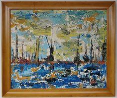 AMERICAN REGIONALISM LANDSCAPE COASTAL MARINE PORT PAINTING  #Expressionism Port Saint Lucie, Time Photo, Expressionism, Online Art, Contemporary Art, Vintage World Maps, Coastal, Auction, Landscape