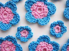 Crochet el Applique de la flor Rosa Pastel por CrochetPocket