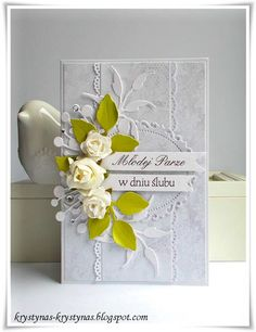 Kartka ślubna Diy And Crafts, Paper Crafts, Scrapbook Cards, Scrapbooking, Shabby, Wedding Cards Handmade, Paper Flower Tutorial, Quilling Cards, Paper Roses