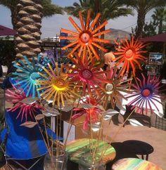 6 CUSTOM Colorful Upcycled Aluminum Soda Can Garden Flowers Handmade by Artist Den Hart