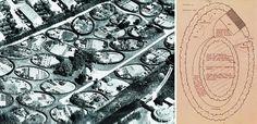 C.Th. Sørensens kolonihaveanlæg fra 1948 i Nærum nord for København består udelukkende af små haver, formet af ovale hække, sat i græs. På p...