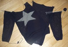 sweter with a star made of the recycled wool diy