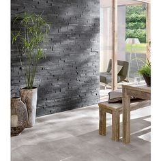 Verhoilukivi Slim 10 x 40 cm Musta Stone Veneer, Bauhaus, Cool Walls, Pastel Colors, Tile Floor, Dining Table, Flooring, Interior Design, Furniture