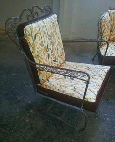 vintage woodard orleans bouncing chair outdoor patio original paint vintage patio living iron