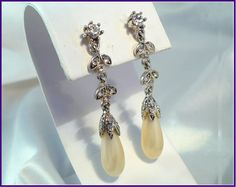 Vintage Monet Pavé Rhinestones & Pearl Drop Earrings ~ For the Bride or Gal who wants to Sparkle with Class! by MarlosMarvelousFinds