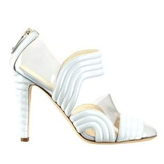 Chanel Chanel 2013 early spring vacation series of transparent light blue patent leather high-heeled shoes stitching