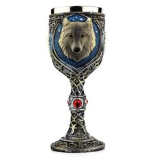 Wolf Retro Vintage Stainless Steel Skull Wine Goblet Drinking Glass Mug Cup - Cozzoo Creative Coffee, Drinking Glass, Drinking Milk, Bar Accessories, Kitchen Accessories, Wine Goblets, Beer Mugs, Halloween Jewelry, Skull Design
