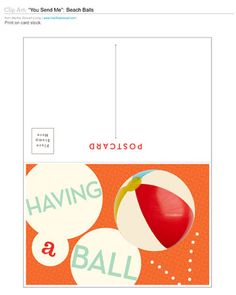 Beach Balls Postcard Clip Art