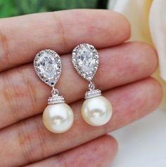 Leona-Bridal-Swarovski-pearl-Earrings-White-Ivory-Pink-Vintage-Rhodium-Plated