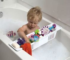 KidCo Bath Toy Organizer Storage Basket - KidCo Bath Toy Organizer Storage Basket  List Price: $12.95   Adjustable length fits most tubs Holds bath toys, soap, shampoo and more Divider panels separate toys from bath care items This is a plastic storage caddy with slats so that water drains out. It sits across the tub so that toys are easy for your child to reach. This can be used for shampoo and other items as well.    List Price: $12.95 Your Price: $10.95-   Great idea: this