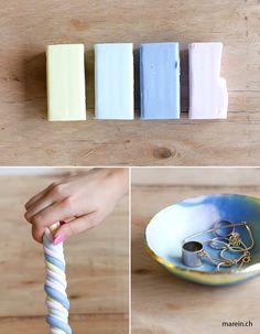 FIMO Bowl // Wir lieben es mit FIMO spezielle Gegenstände zu kreieren und haben eine grossartige Idee, wie du deine alltäglichen Begleiter ordentlich verstauen kannst. Deine Accessoires werden sich in der FIMO Bowl pudelwohl fühlen! http://www.marein.ch/basteln/8594/fimo-bowl/