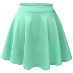 MBJ Womens Basic Versatile Stretchy Flared Skater Skirt ($6.89) ❤ liked on Polyvore featuring skirts, bottoms, stretch skirt, green skirt, flare skirt, skater skirt and green circle skirt