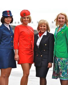 From left to righ Qantas air hostess uniforms 1971 to 1974, 1974 to 1987, 2003 to 2011, 1987 to 1995.