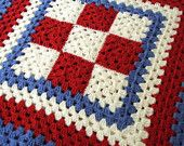 Two Red White And Blue Granny Square Crochet Blankets