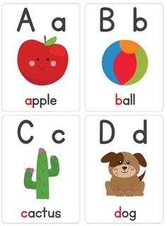 """Our """"Alphabet Flash Cards"""" are a great learning tool for your children to learn the letters of the alphabet. You will receive 26 printable alphabet cards. Alphabet Activities, Preschool Worksheets, Preschool Learning, Preschool Activities, Teaching, Alphabet Wall Cards, Alphabet Words, Alphabet Flash Cards, Printable Alphabet"""