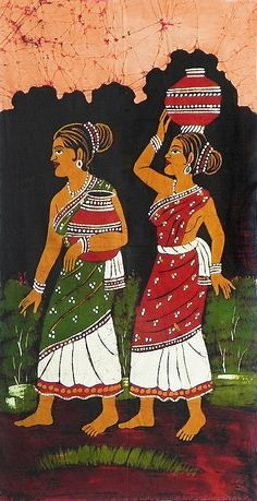 Village+Women+in+Fetch+of+Water+(Batik+Painting+on+Cotton+Cloth+-+Unframed)