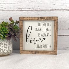The Secret Ingredient Is Always Love Sign - Kitchen Wood Signs - Rustic Home Decor - Farmhouse Kitchen Sign - Farmhouse Sign - Bedroom Sign - Interior Design/Ideas Farmhouse Kitchen Signs, Farmhouse Bedroom Decor, Kitchen Wood, Signs For Kitchen, Modern Farmhouse, Wooden Kitchen Signs, Country Farmhouse, Wooden House Signs, Country Kitchen