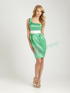 Buy fashion Simple Princess One-Shoulder Empire Waist Ruched Short/Mini Satin Bridesmaid dress under $99.99 only in Findressy.