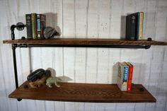 Two Reclaimed Oak Shelves With Iron Arm Support by Loftessentials