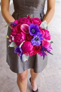 Stunning bouquet of blue anemones and silver dusty miller with lysimachia, peonies, roses and callas. #bouquet