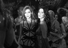 """Gigi and Bella Hadid backstage at the 2016 Victoria's Secret Fashion Show """