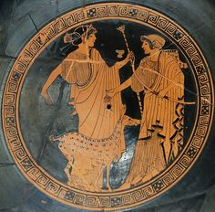 Apollo (left) and Artemis. Brygos (potter signed), tondo of an Attic red-figure cup c. 470 BC, Musée du Louvre. @Wikipedia File:Apollo Artemis Brygos Louvre G151.jpg