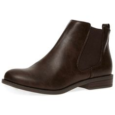 Dorothy Perkins Chocolate 'bea' chelsea boots (£29) ❤ liked on Polyvore featuring shoes, boots, ankle booties, chocolate, faux leather boots, beatle boots, vegan ankle boots, faux leather ankle boots and short flat boots