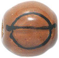 Shipwreck Beads 10mm Peruvian Hand Crafted Medium Ceramic Basketball Beads, Brown, 8 per Pack