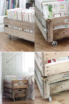 CRATES & WOOD BOXES :: A DIY cart made w/ IKEA casters and some wood panels (maybe from pallets?)...what's neat about this one is it's stackable! | #woodcart #crate