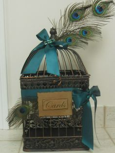 Wedding Card Box Birdcage Vintage Look Wedding Birdcage / Cardholder Peacock Feathers. $65.00, via Etsy.