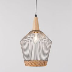 Elegant and beautifully stylish, the Birdy Wire Pendant Light, with braided rattan border, will bring a touch of Scandi design to your room. Wire Pendant Light, Pendant Lamp, Pendant Lighting, Chandelier, Boho Lighting, Unique Lighting, Wood Lamps, Dining Room Lighting, Grey Paint