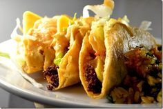 With this Just Like Jack in the Box Tacos recipe you can satisfy those Jack in the Box cravings no matter where you live. This Jack in the Box Tacos recipe replicates the famous fried tacos you can't seem to find anywhere else. Copycat Recipes, Sauce Recipes, Beef Recipes, Cooking Recipes, Hamburger Recipes, Lunch Recipes, Mexican Dishes, Mexican Food Recipes, Gastronomia