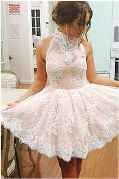 123.40 USD Cap Sleeves Lace Halter Homecoming Dresses,Elegant Homecoming Dress,Short