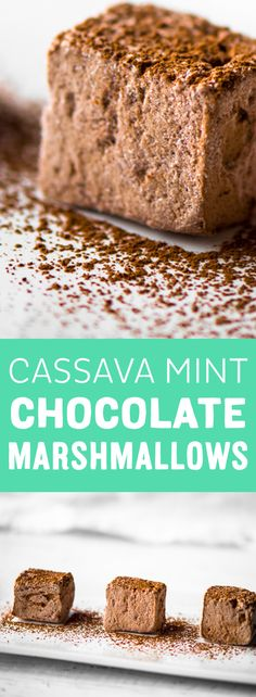 Make your own marshmallow with mint and chocolate for a fun new take on an old favorite. What makes this recipe even sweeter is that it's made with all natural, fructose-free cassava so you can enjoy a handful with out having to feel guilty about stuffing your face ;)