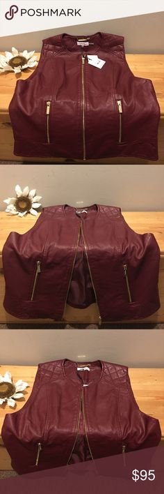 "CALVIN KLEIN Faux Leather Vest Size M New with Tags Size M Sleeveless Faux Leather Calvin Klein Vest. Gold tone Signature Hardware, front zip closure and two front pockets.  Approx. Measurements: Bust: 19"" Waist: 18"" Hem: 21 1/2"" Bordeaux in color, (like burgundy) All questions and inquiries welcome. Calvin Klein Jackets & Coats Vests"