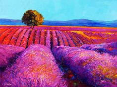 Lavender Landscape 27x23 in, Landscape Painting Original Art Impressionistic OIl on Canvas by Ivailo Nikolov
