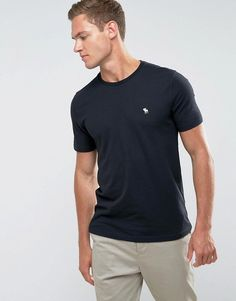 Abercrombie & Fitch Slim Fit T-Shirt Crew Neck Logo in Black