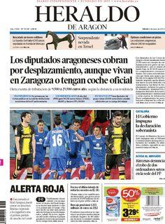 Los Titulares y Portadas de Noticias Destacadas Españolas del 2 de Marzo de 2013 del Diario Heraldo de Aragon ¿Que le parecio esta Portada de este Diario Español?